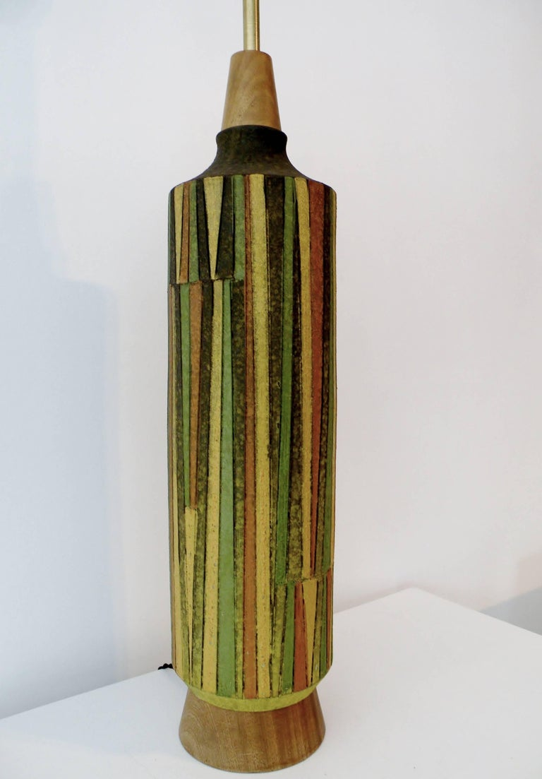 Glazed Large Aldo Londi Milano Moderno Bitossi Italian Art Pottery Table Lamp For Sale
