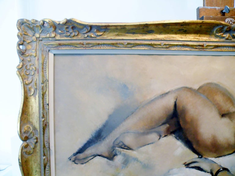 Midcentury Cesar Vitol French Nude Oil Painting Seductive Pin-Up 9