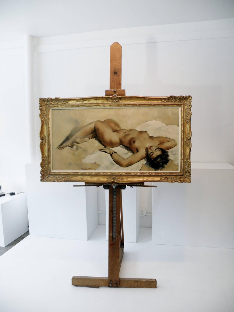 Midcentury Cesar Vitol French Nude Oil Painting Seductive Pin-Up 8