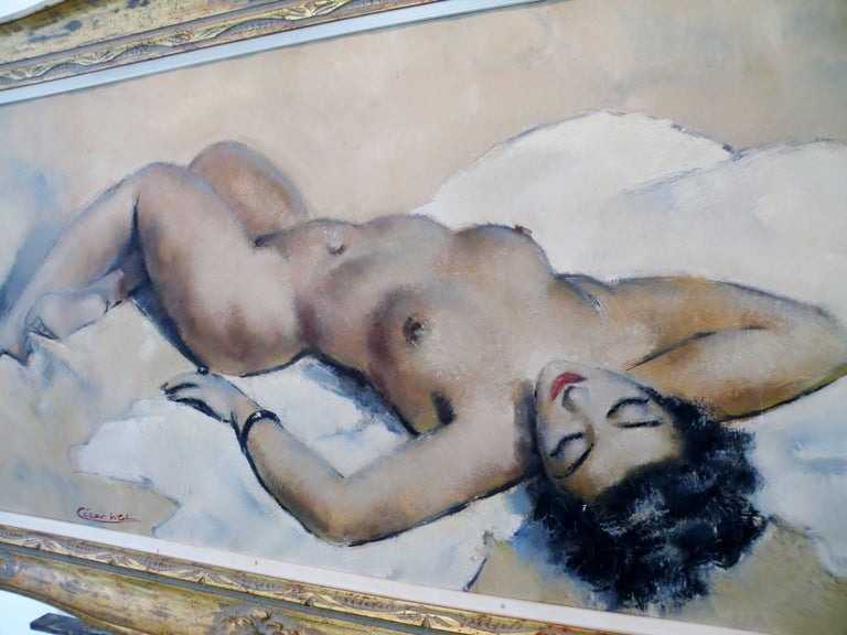 Midcentury Cesar Vitol French Nude Oil Painting Seductive Pin-Up 6