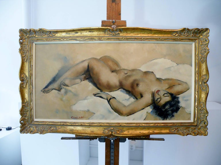 Midcentury Cesar Vitol French Nude Oil Painting Seductive Pin-Up 4