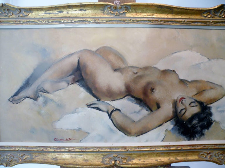 Midcentury Cesar Vitol French Nude Oil Painting Seductive Pin-Up 2