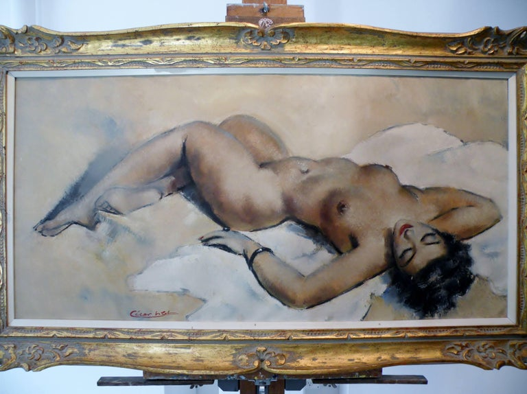 Midcentury Cesar Vitol French Nude Oil Painting Seductive Pin-Up 5