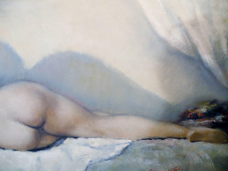 Midcentury Cesar Vitol French Nude Oil Painting Sleeping Pin-Up 4