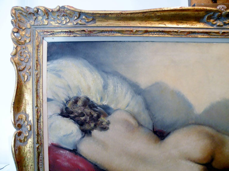 Midcentury Cesar Vitol French Nude Oil Painting Sleeping Pin-Up 8