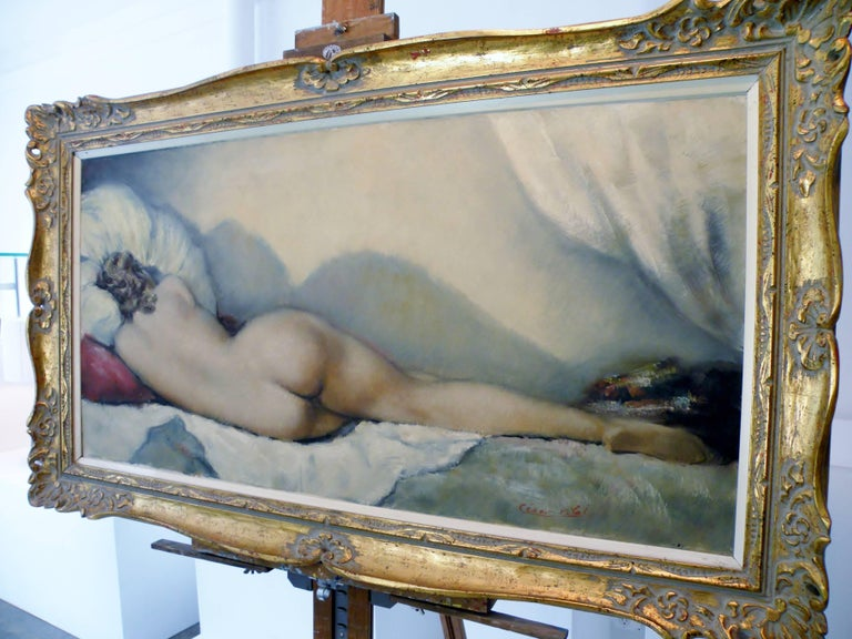 Midcentury Cesar Vitol French Nude Oil Painting Sleeping Pin-Up 5