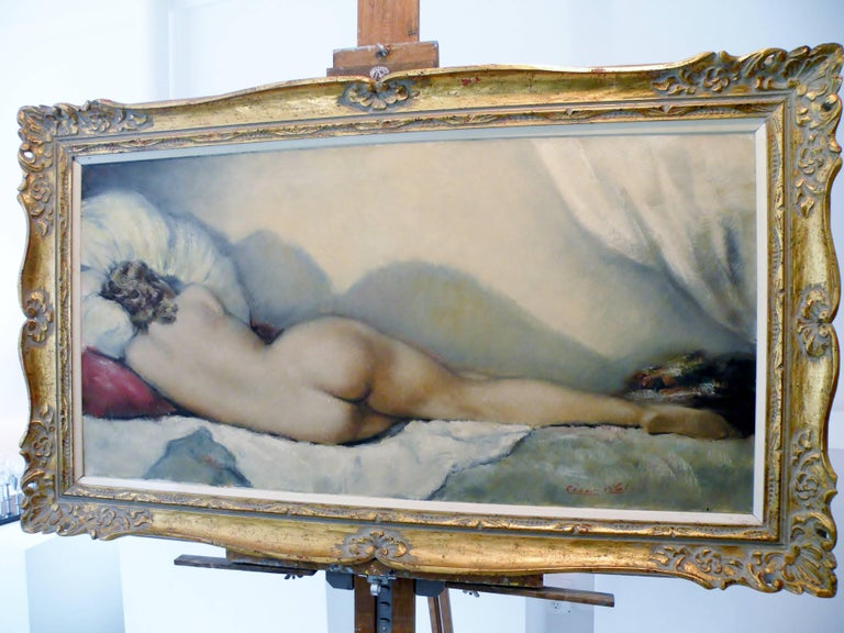 Midcentury Cesar Vitol French Nude Oil Painting Sleeping Pin-Up 9