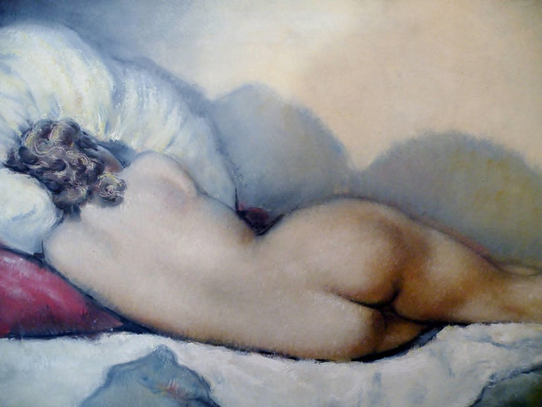 Midcentury Cesar Vitol French Nude Oil Painting Sleeping Pin-Up 3