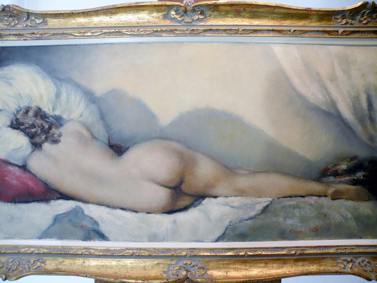 Midcentury Cesar Vitol French Nude Oil Painting Sleeping Pin-Up 2