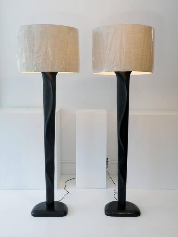 Pair of Sculpted Midcentury Organic Modern Ebonized Oak Floor Lamps For Sale 2