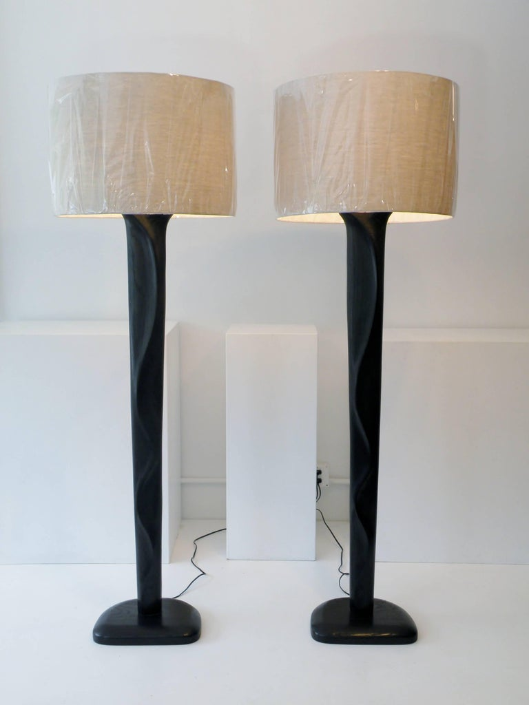 Pair of Sculpted Midcentury Organic Modern Ebonized Oak Floor Lamps 7