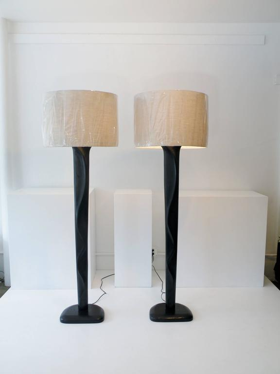 American Pair of Sculpted Midcentury Organic Modern Ebonized Oak Floor Lamps For Sale