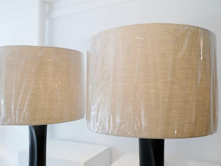 Pair of Sculpted Midcentury Organic Modern Ebonized Oak Floor Lamps For Sale 5