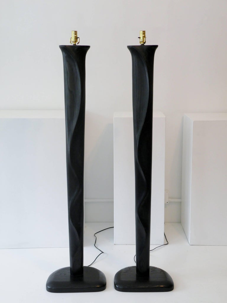 Pair of Sculpted Midcentury Organic Modern Ebonized Oak Floor Lamps 2