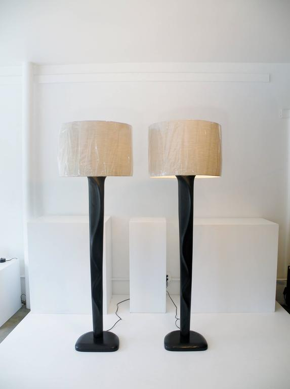 Pair of Sculpted Midcentury Organic Modern Ebonized Oak Floor Lamps For Sale 1