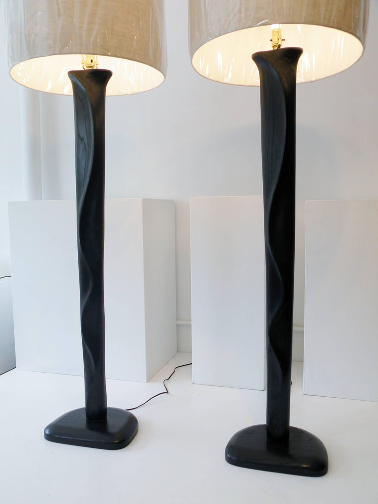 Pair of Sculpted Midcentury Organic Modern Ebonized Oak Floor Lamps 5