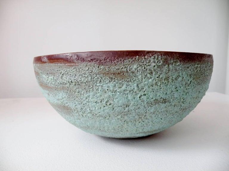 """Beatrice Wood """"Beato"""" Pottery Bowl Verdigris Volcanic Glaze 3"""