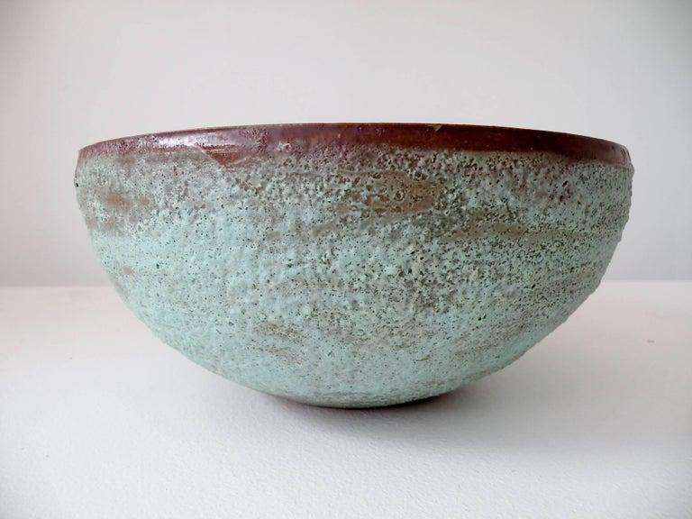"""Beatrice Wood """"Beato"""" Pottery Bowl Verdigris Volcanic Glaze 6"""