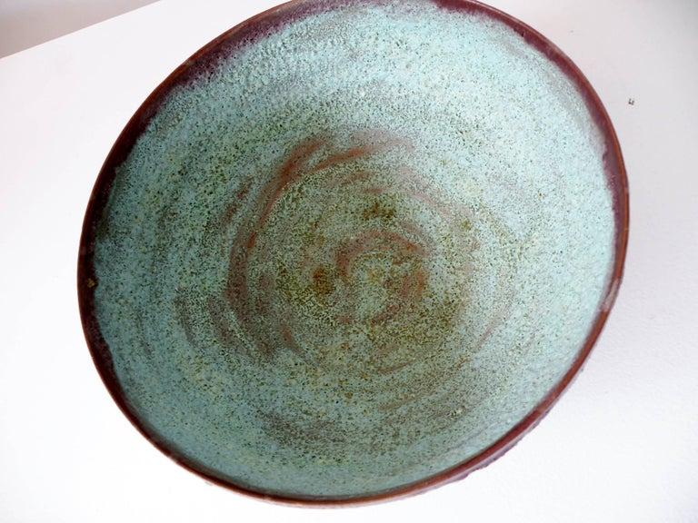 """Beatrice Wood """"Beato"""" Pottery Bowl Verdigris Volcanic Glaze 8"""