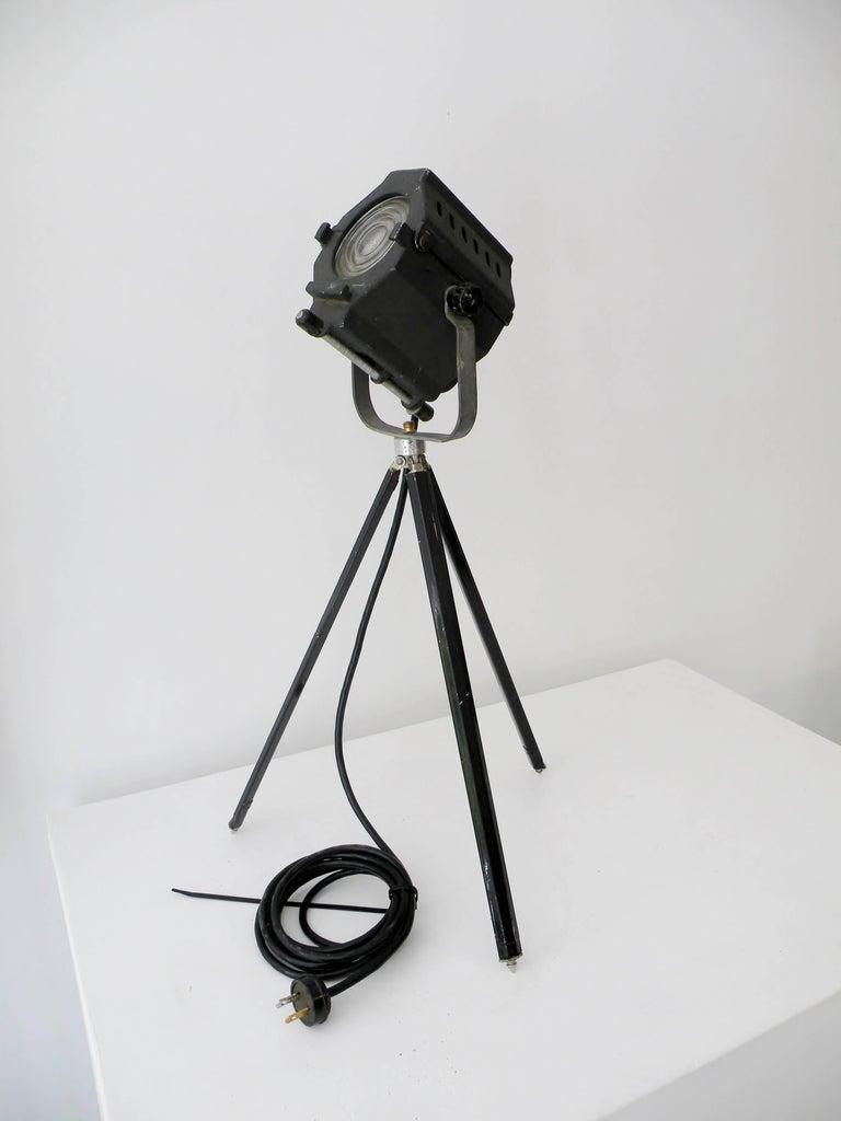 20th Century Industrial Kleigl Theater Spotlight Table Lamp Streamline, Midcentury For Sale