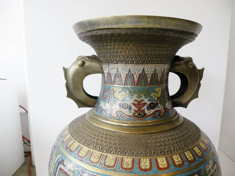 Champlevé Large 19th Century Chinese Champleve Enamel and Bronze Vase For Sale