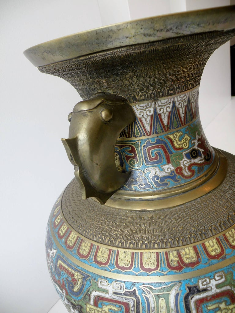Large 19th Century Chinese Champleve Enamel and Bronze Vase In Excellent Condition For Sale In Denver, CO