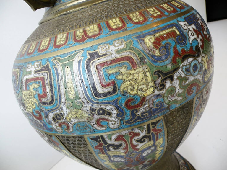 20th Century Large 19th Century Chinese Champleve Enamel and Bronze Vase For Sale