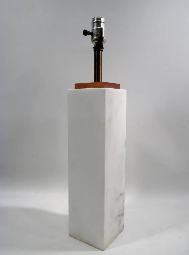 T.H. Robsjohn-Gibbings for George Hanson Travertine Marble Table Lamp 2