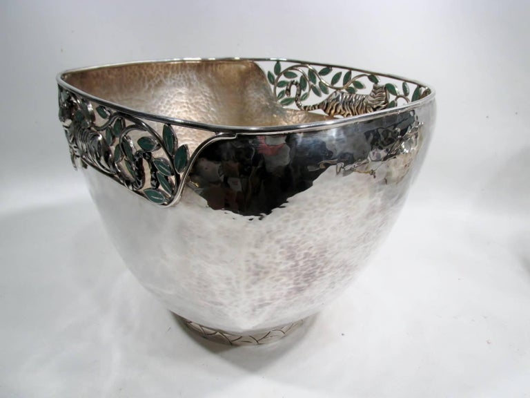 Emilia Castillo Taxco Silver Tiger Malachite Inlay Reticulated Salad Bowl 9