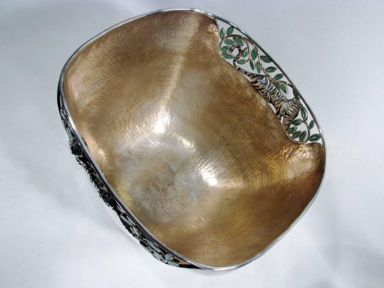 Emilia Castillo Taxco Silver Tiger Malachite Inlay Reticulated Salad Bowl 6