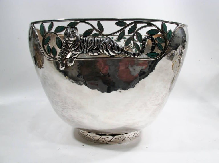 Emilia Castillo Taxco Silver Tiger Malachite Inlay Reticulated Salad Bowl 2
