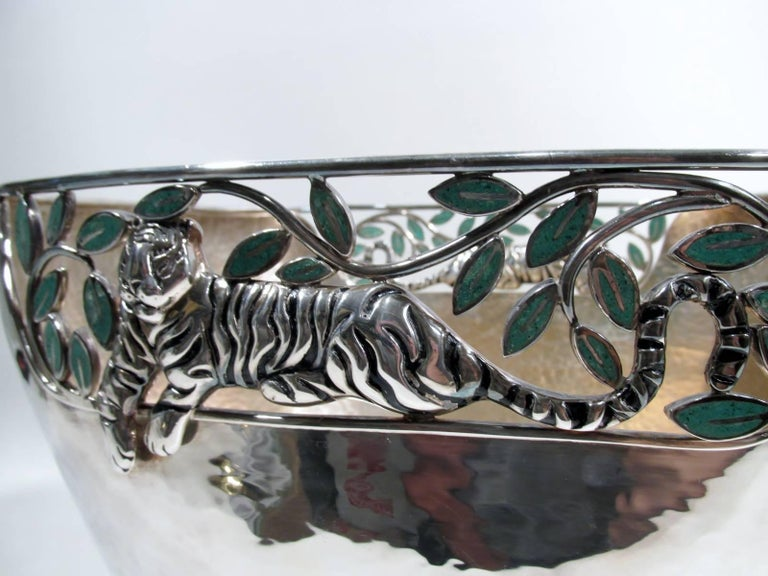 Emilia Castillo Taxco Silver Tiger Malachite Inlay Reticulated Salad Bowl 3