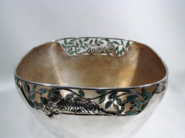 Emilia Castillo Taxco Silver Tiger Malachite Inlay Reticulated Salad Bowl 4