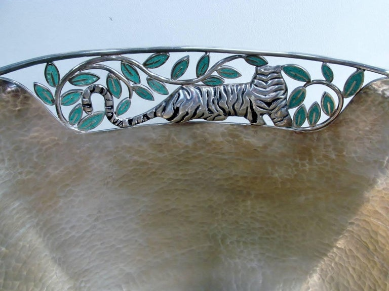 Emilia Castillo Taxco Silver Tiger Malachite Inlay Reticulated Salad Bowl 5