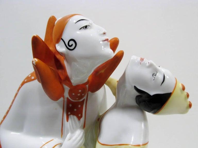 Art Deco Pierrot & Columbine Figurine Heinz Schaubach, Fraureuth Wallendorf 2