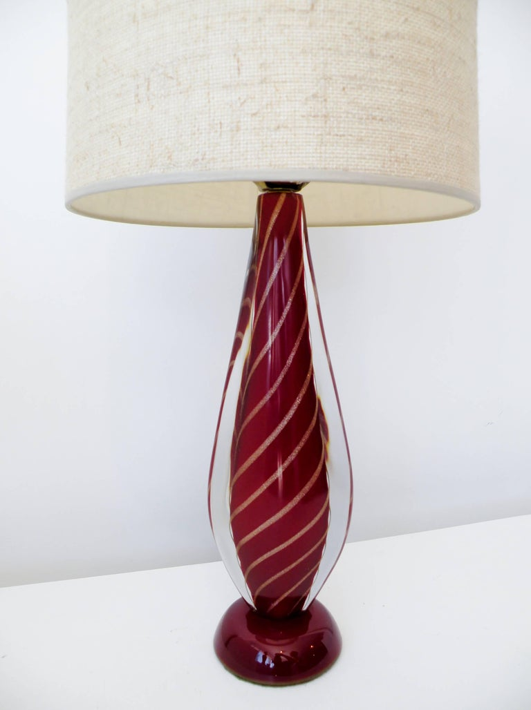 Seguso Sommerso Flavio Poli Attributed Italian Murano Glass Table Lamp 3