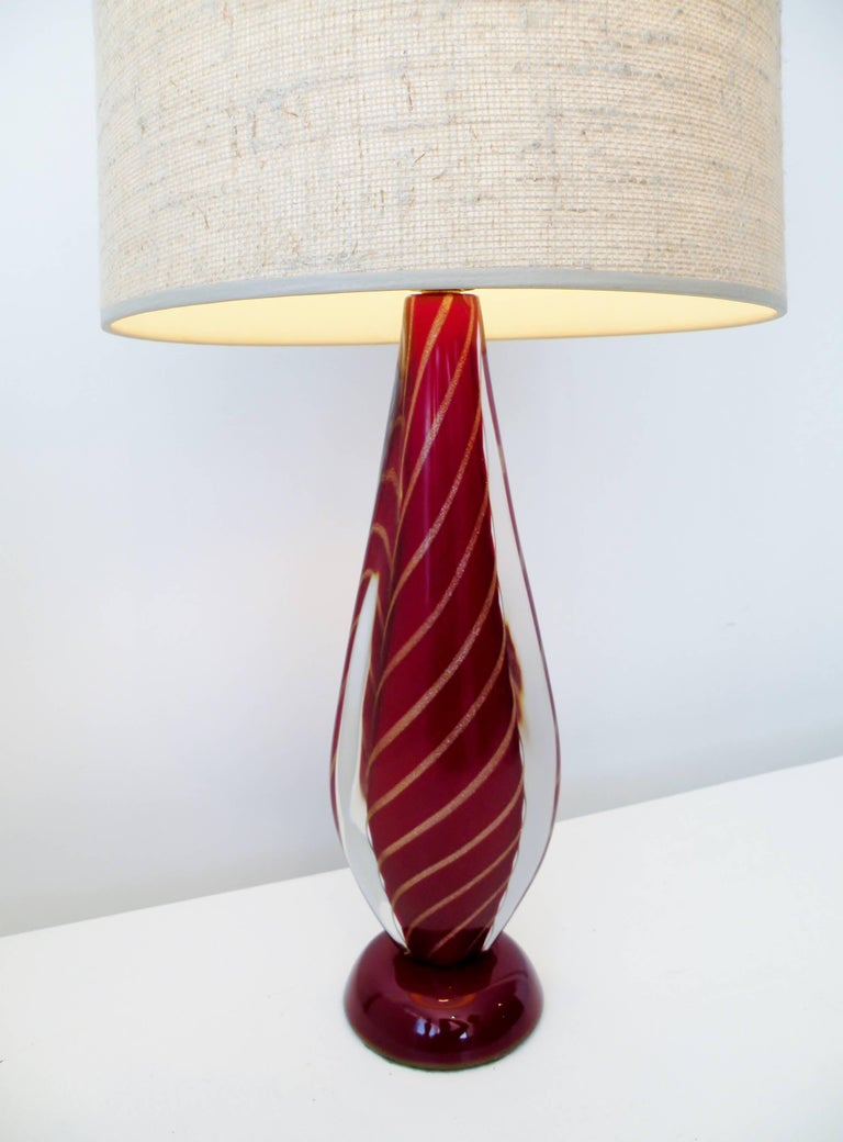 Seguso Sommerso Flavio Poli Attributed Italian Murano Glass Table Lamp 4