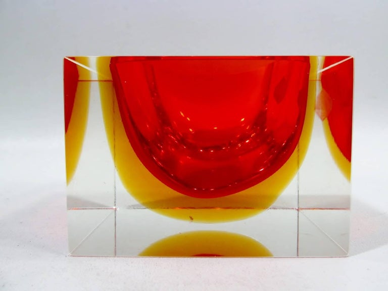 "1960s Italian Murano art glass Alessandro Mandruzzato square or cube geode bowl with Sommerso colors of orange and yellow. Retains original Italian retailer Ma-Gu-Se foil label. Measures: 3 5/8"" square x 2.5"" deep."