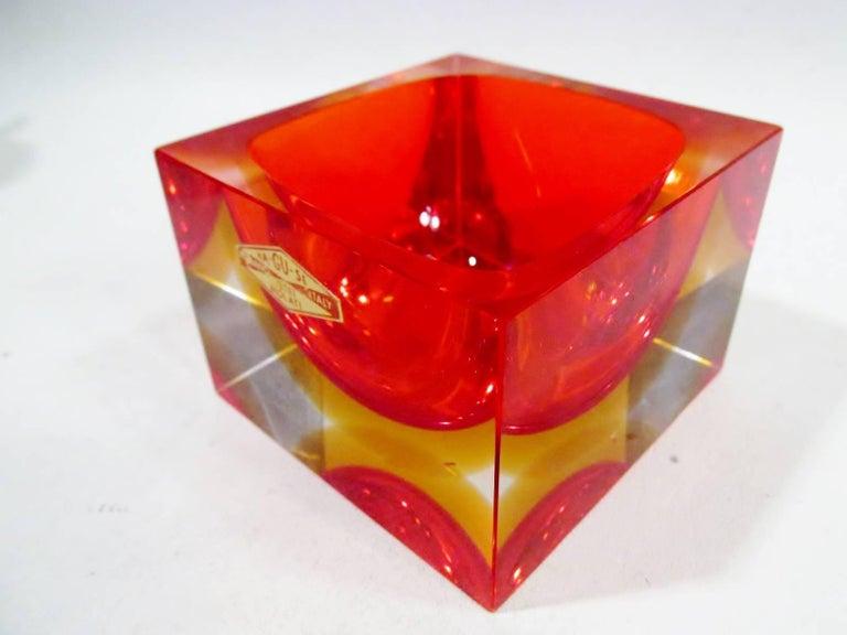 Alessandro Mandruzzato Italian Murano Square Cube Sommerso Bowl In Excellent Condition For Sale In Denver, CO