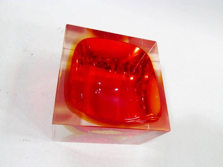 Mid-Century Modern Alessandro Mandruzzato Italian Murano Square Cube Sommerso Bowl For Sale