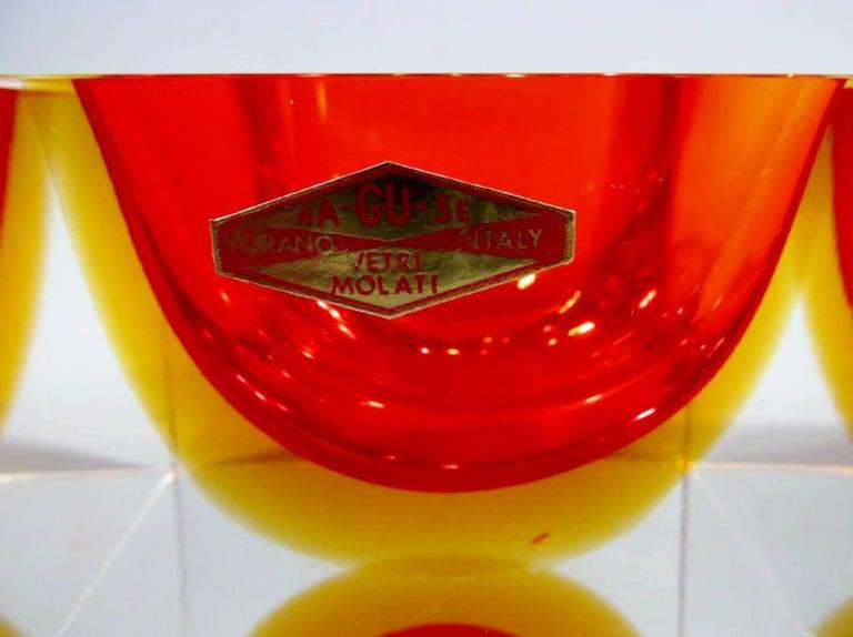 20th Century Alessandro Mandruzzato Italian Murano Square Cube Sommerso Bowl For Sale