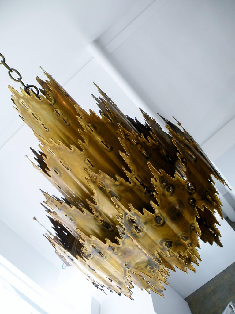 Striking Tom Greene Brutalist Torch Cut Chandelier Feldman Lighting 3