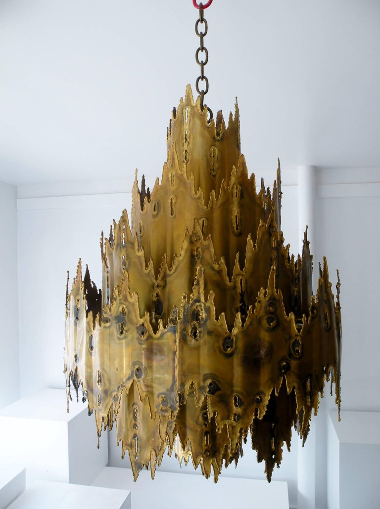Striking Tom Greene Brutalist Torch Cut Chandelier Feldman Lighting 2