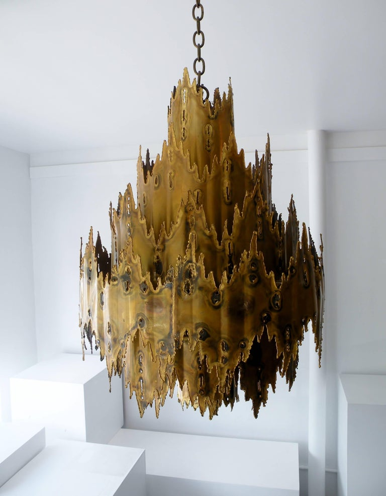 Striking Tom Greene Brutalist Torch Cut Chandelier Feldman Lighting 5