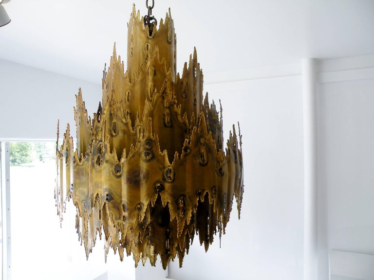 Striking Tom Greene Brutalist Torch Cut Chandelier Feldman Lighting 6