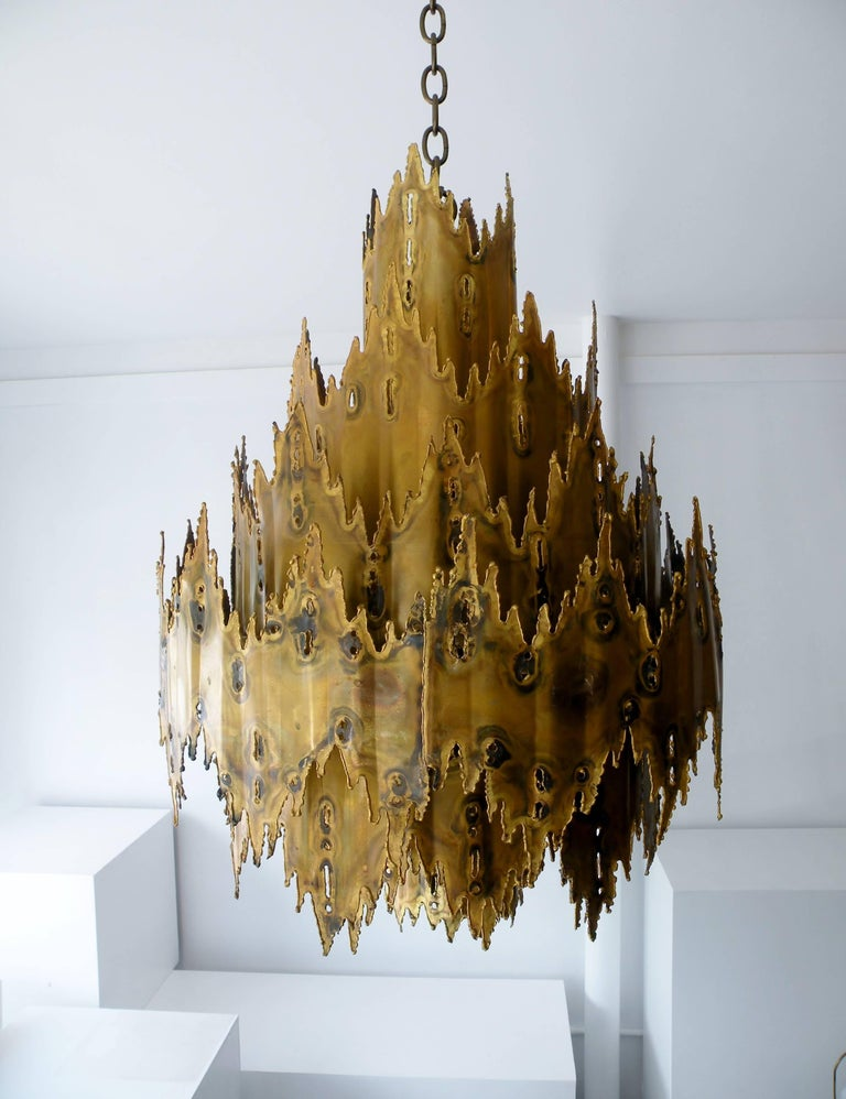 Striking Tom Greene Brutalist Torch Cut Chandelier Feldman Lighting 7