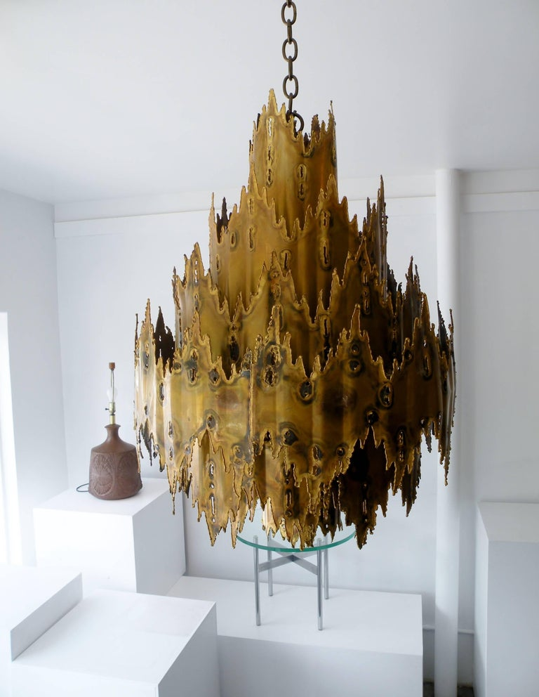 Striking Tom Greene Brutalist Torch Cut Chandelier Feldman Lighting 8