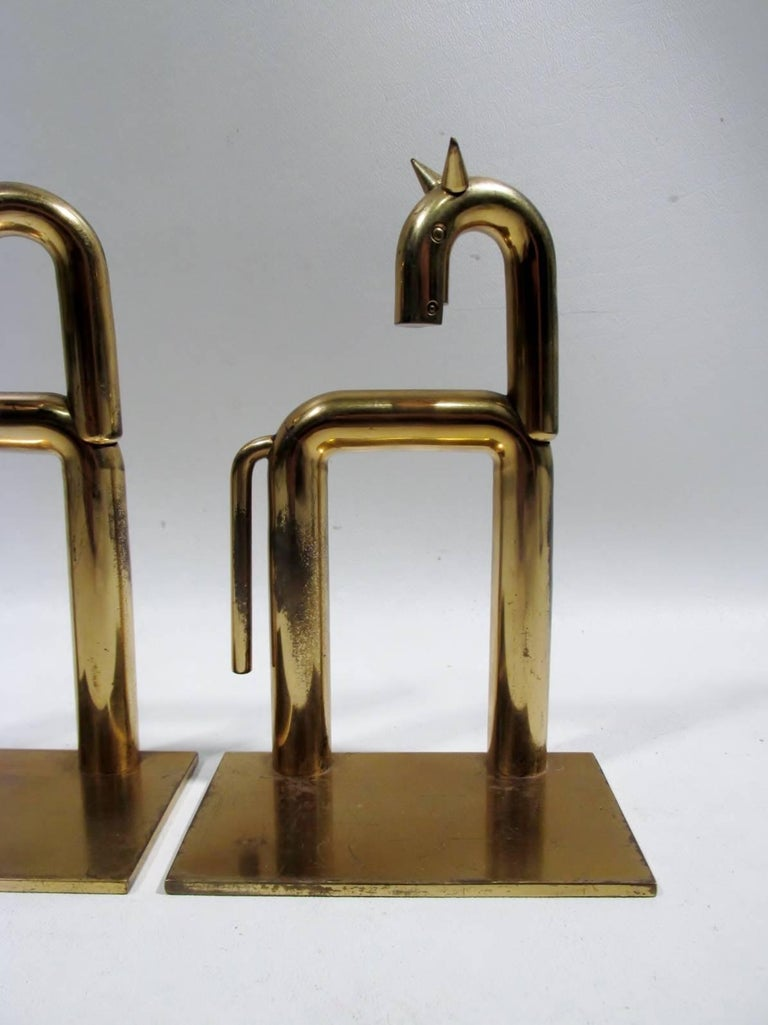Art Deco Walter Von Nessen Chase Brass Pair Horse Bookends  2