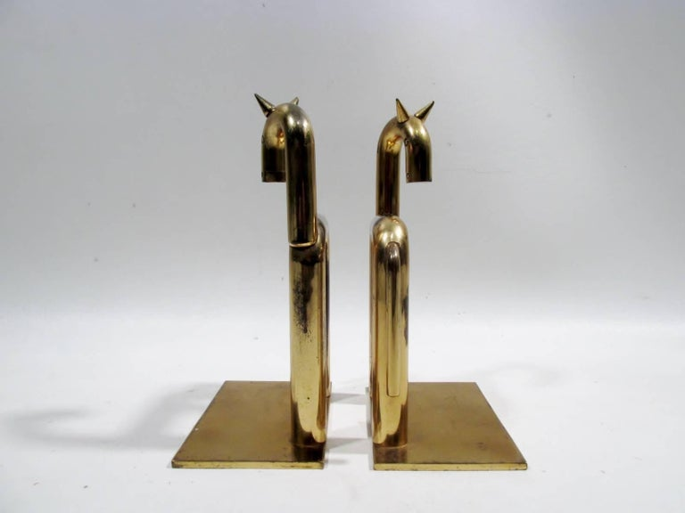 Art Deco Walter Von Nessen Chase Brass Pair Horse Bookends  3