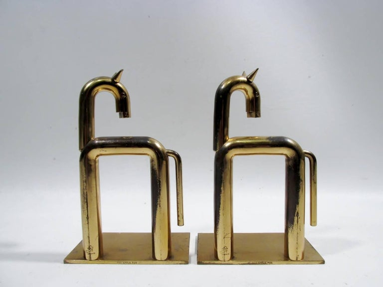 Art Deco Walter Von Nessen Chase Brass Pair Horse Bookends  4